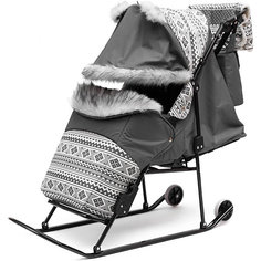 Санки-коляска Скандинавия 2УМ Авто, черная рама, ABC Academy, серый