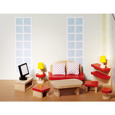 Мебель для кукольной гостиной красная, goki