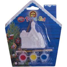 Набор для детского творчества, Домик 6x2.7x7см, 3 краски, кисточка, блистер в форме домика - 14*14 см Mag2000