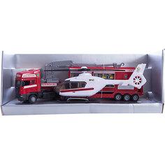 """Машинка """"Scania"""" пожарная база на платформе с вертолетом, звук, свет 1:48, Autotime"""