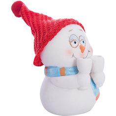 "Фигурка ""Снеговик с бокалами"" 8 см, керамика Феникс Презент"
