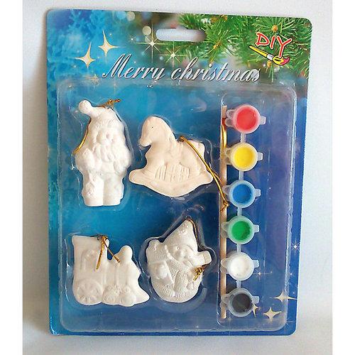 Набор для детского творчества, керамика, 4 фигурки -5*1*6,5 см, 6 красок, в синей коробке 19*2,5*24 см