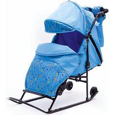Санки-коляска ABC Academy Зимняя сказка 2В Авто, черная рама, голубой/зоопарк