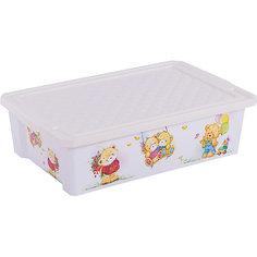 """Ящик для хранения игрушек """"X-BOX"""" Bears 30л на колесах, Little Angel, слоновая кость"""