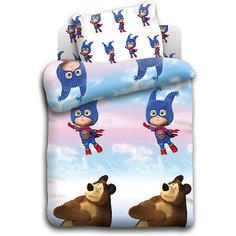 """Детское постельное белье 3 предмета Непоседа, """"Маша и Медведь"""" Маша супергерой"""
