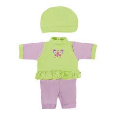 "Одежда для куклы Mary Poppins ""Бабочка"" комбинезон с шапочкой, 38-43 см (серо-зеленый)"