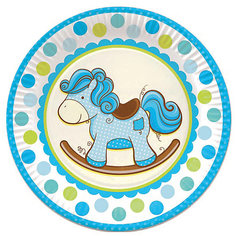 """Тарелки Патибум """"Лошадка. Малыш"""" 23 см бумажные ламинированные, 6 шт., голубые"""