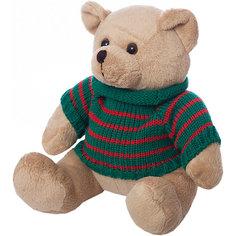 Мягкая игрушка Abtoys Медведь  в свитере, бежевый, 12 см