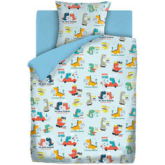 Комплект постельного белья 1.5 хлопок Непоседа (70х70см) рис. 8998-1/голубой Динозаврики