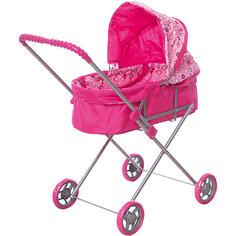 Коляска для кукол Карапуз со съемной люлькой, розовая