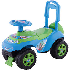 "Машина-каталка Doloni ""Автошка"" без музыки, зелёно-голубой"