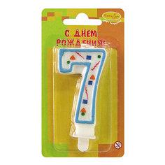"""Свеча для торта Патибум """"Цифра 7"""" 7 см., голубое конфетти"""