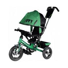 Трехколесный велосипед City надувные колеса 8/10, зеленый
