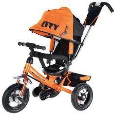 Трехколесный велосипед City надувные колеса 8/10, оранжевый