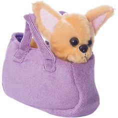"""Мягкая игрушка Играем вместе """"My friends"""" Собачка в сумке, желтая, 19см"""