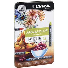 Акварельные цветные мелки AQUACOLOR, водорастворимые, 12 цветов Lyra