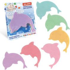 """Мини-коврик для ванной комнаты """"Дельфин радужный"""" (на присосах), набор 6 шт Valiant"""