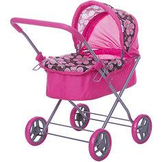 Коляска для кукол Buggy Boom , розовый с цветочками на тёмном фоне