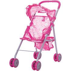 Коляска для кукол с козырьком Buggy Boom , розовый с мишками