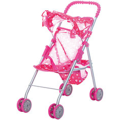 Коляска для кукол с козырьком Buggy Boom , розовый с сердечками