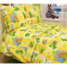 Детское постельное белье 3 предмета Letto, Динозаврики, желтый (простынь на резинке)