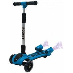 """Трёхколёсный самокат 1Toy """"Rocket"""" с парогенератором (свет, звук), голубой"""