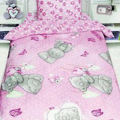 Детское постельное белье 1,5 сп. Teddy с подарком на розовом Mona Liza