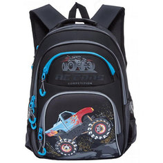 Рюкзак школьный Grizzly, чёрный/голубой