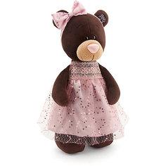 """Мягкая игрушка Orange """"Choco&Milk"""" Медвежонок Milk стоячая в платье с блёстками, 30 см"""