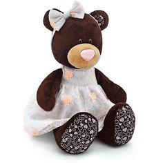 """Мягкая игрушка Orange """"Choco&Milk"""" Медвежонок Milk в платье с вышивкой, 30 см"""