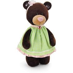"""Мягкая игрушка Orange """"Choco&Milk"""" Медвежонок Milk стоячая в платье в клеточку, 30 см"""