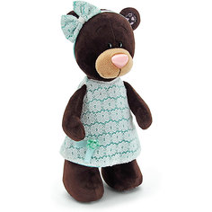 """Мягкая игрушка Orange """"Choco&Milk"""" Медвежонок Milk стоячая в платье цвета мяты, 25 см"""