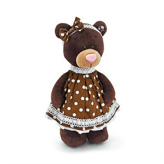"""Мягкая игрушка Orange """"Choco&Milk"""" Медвежонок Milk стоячая в платье в горох, 30 см"""