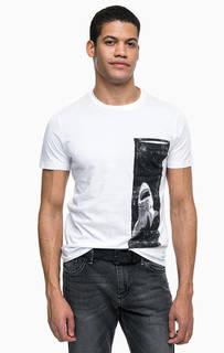 Белая хлопковая футболка с принтом Tom Tailor Denim