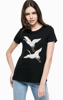 Черная трикотажная футболка с вышивкой Vero Moda