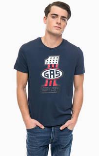 Синяя хлопковая футболка с принтом Gas