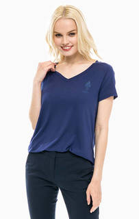 Синяя футболка с треугольным вырезом U.S. Polo Assn.