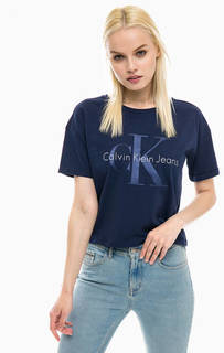 Укороченная футболка из хлопка Calvin Klein Jeans