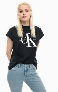 Черная футболка с логотипом бренда Calvin Klein Jeans
