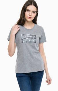 Серая футболка с отделкой пайетками Napapijri
