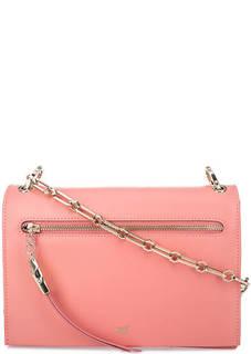 Розовая кожаная сумка с двумя отделами Cavalli Class