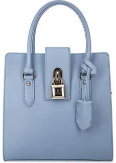 Синяя кожаная сумка с короткими ручками Patrizia Pepe