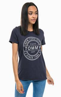 Синяя хлопковая футболка с круглым вырезом Tommy Jeans