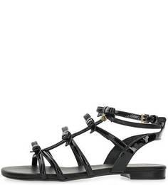 Лаковые сандалии черного цвета Michael Michael Kors