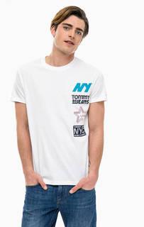 Белая хлопковая футболка с принтом Tommy Jeans