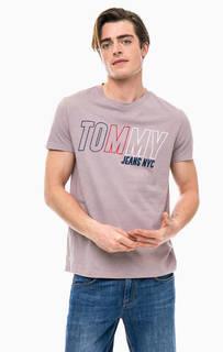 Сиреневая футболка с круглым вырезом Tommy Jeans