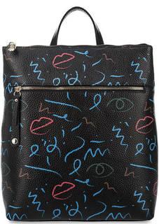 Кожаный рюкзак с принтом Curanni