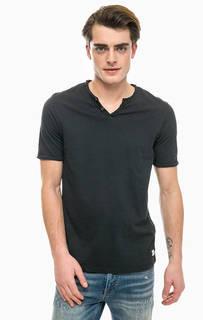 Хлопковая футболка с декоративными пуговицами Jack & Jones