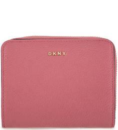 Розовый кошелек из зерненой кожи Dkny