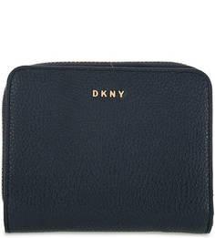 Синий кошелек из зерненой кожи Dkny
